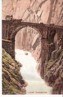 Suisse- Gotthardstrasse-Furka Die Teufelsbrücke MIT WAGEN -(Furkapost)-Dessin - BE Berne