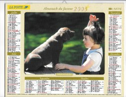 CALENDRIER - ALMANACH DES POSTES ET DES TELEGRAPHES -  Chiens - ANNEE 2003  - SEINE ET MARNE - Calendriers