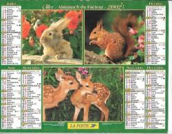 CALENDRIER - ALMANACH DES POSTES ET DES TELEGRAPHES -  Animaux - ANNEE 2002  - SEINE ET MARNE - Formato Grande : 2001-...