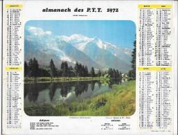 CALENDRIER - ALMANACH DES POSTES ET DES TELEGRAPHES - ANNEE 1972 - Chamonix, Saumur - SEINE ET MARNE - Calendriers