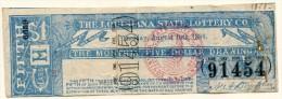 Billet De Loterie USA THE LOUISIANA 5 Dollar 1886 - Collections