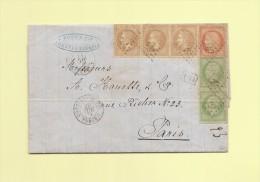 Affranchissement tricolor - Constantinople Turquie - 29 nov 1871 - rare - signe Roumet