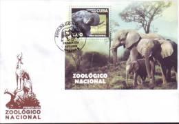 2008-FDC-5 CUBA 2008 FDC ZOO ELEPHANT LION COCODRILE. ELEFANTES, CEBRAS, LEONES, FLAMENCOS, COCODRILOS ETC. - FDC