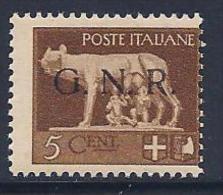 Italy, Republican National Guard, MI # 1 Italy Stamp Overprinted G.N.R., 1944 - 4. 1944-45 Social Republic