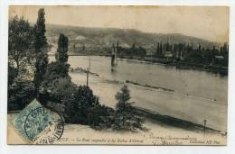 CP , 76 , ELBEUF , Le Pont Suspendu Et Les Roches D'Orival - Elbeuf