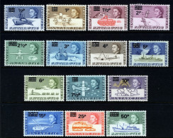 BRITISH ANTARCTIC TERRITORY BAT - 1971 DECIMAL DEFINITIVE OVERPRINT SET (14V) VERY FINE MNH ** SG 24-37 - Britisches Antarktis-Territorium  (BAT)