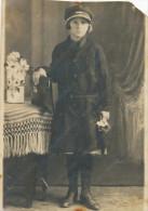 REAL PHOTO,girl In School Uniform And School Bag,   Filles, Uniforme Scolaire Et Sac D´école, Subotica, Old   Photo - Niños