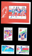 China 1992-8 & 8m Olympic Games Stamps & S/s Race Sport Sprint Basketball Gymnastics Diving Weight Lifting - Gymnastics