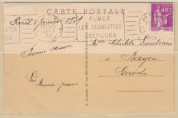 = Timbre N°281 Type Paix 2.janv.39 Paris  Carte Postale Jardins Du Trocadéro Et La Tour Eiffel - 1932-39 Paz