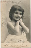 Petite Fille Nue Angelot Ailes Signée Ganzini Photo Joyeux Noel - Angels