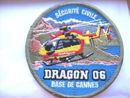 RARE INSIGNE TISSUS PATCH SECURITE CIVILE DRAGON 06 LA BASE DE CANNES 06 ( VELCRO) ETAT EXCELLENT