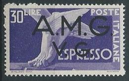 1946 TRIESTE AMG VG ESPRESSO 30 LIRE LUSSO + DECALCO MNH ** - ED687-2 - 7. Trieste