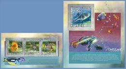 gu14202ab Guinea 2014 Fishs 2 s/s