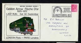 GB Commemorative Cancel 1972 Golden Arrow Railway Train London Paris (V086) - Marcophilie