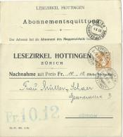 """NN Karte  """"Lesezirkel Hottingen, Zürich""""           1908 - Schweiz"""
