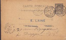 France Postal Stationery Ganzsache Entier Sage Libraire SUPPLIGEON, TOURS GARE 1891 To PARIS R. Guichard (2 Scans) - Ganzsachen