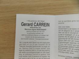 Doodsprentje Gerard Carrein Komen 9/5/1913 Menen 16/10/1997 ( Agnes Bouchaert ) - Religion & Esotericism