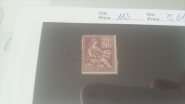 LOT 216317 TIMBRE DE FRANCE NEUF* N�113 VALEUR 61 EUROS