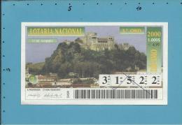 LOTARIA NACIONAL - 3.ª ORD. - 17.01.2000 - CASTELO DE LEIRIA - Portugal - 2 Scans E Description - Billets De Loterie
