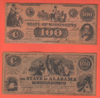 Usa  FAKE  Dollari Stati Confederati : Alabama e Missisipi  fine 800��