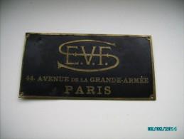 FRANCE , S.E.V.F.  PARIS 44  AVENUE DE LA GRANDE-ARMEE , METAL LABEL, 0 - Transportation