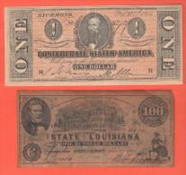 Usa  FAKE  Dollari Stati Confederati Louisiana e Richmond   fine 800��