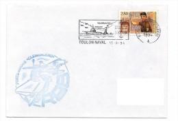 13823 - MARINE NATIONALE - PA CLEMENCEAU Cachet  Du Bord Et Flamme TOULON NAVAL ( Revue Navale) 1994 - Marcofilia (sobres)