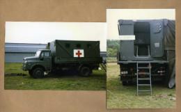 2 Photos Armée Belge Camion Man Ambulance - Militaria