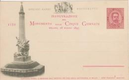 Inaugurazione Del Monumento Delle Cinque Giornate Milano 18 Marzo 1895 - Cartolina Numerata - Inaugurazioni