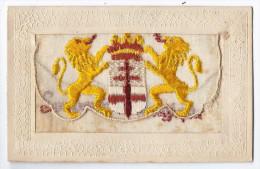 CPA Fantaisie Brodée - Souvenir De Belgique - Blason Armoiries Du Royaume Lions - Belgique