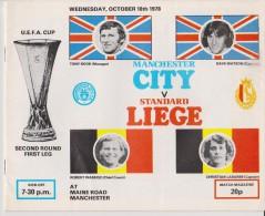 Official Football Programme MANCHESTER CITY  - STANDARD LIEGE Belgium European UEFA Cup 1978 2nd Round - Habillement, Souvenirs & Autres