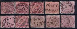 Germany: 1875 Mi. Nr 37, 10 X Different Colors And Cancels - Oblitérés