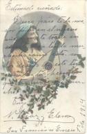 JOVEN FUMANDO UN CIGARRILLO Y SU NOVIA CON ROSA - FANTASIA ROMANTICA CPA VOYAGEE VIAJADA 1921 SMOKING CIGARRILLO CIGARET - Bekende Personen