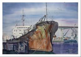 CP Inédite - Carte-Postale Neuve - Cargo à Quai - Aquarelle Originale - Peintures & Tableaux