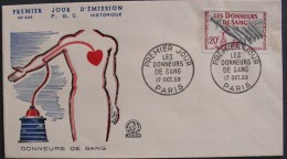 France DONNEURS SANG Blood Donor DONORS Superbe FDC 1er Jour - 1959 - 50 F - Cote 2 € - Medicina