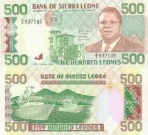 Sierra Leone P-19, 500 Leones, Spearhiead, Fishr, President Momoh / Trawlers - Sierra Leone