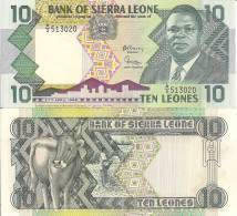 Sierra Leone P-15, 10 Leones, President Dr. Joseph Saidu Momoh / Cow - Sierra Leone