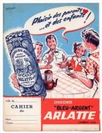 """ZE-PROTEGE CAHIER-CHICOREE """" BLEU ARGENT """" -ARLATTE-CAMBRAI-----------RARE- --entreprise N´existe Plus - Buvards, Protège-cahiers Illustrés"""