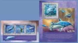 gu14204ab Guinea 2014 Shark Fish 2 s/s