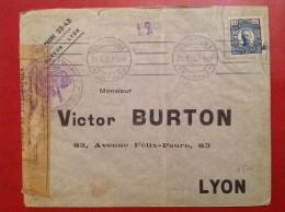 Lettre SUEDE Stockholm Pour LYON Censure Du Controle Postal De DIEPPE - 1910-1920 Gustaf V
