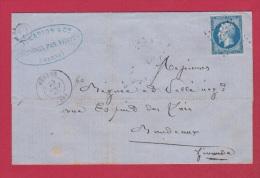 Lettre De Chantrix Par Vertus  //  Pour Bordeaux   //    25 Aout 1860  //  Boite Rurale Q - Postmark Collection (Covers)