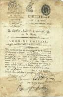 1794 - CERTIFICAT De CIVISME De La Commune D'OYSANS (CI-DEVANT BOURG-D'OYSANS) (38) - Historische Dokumente