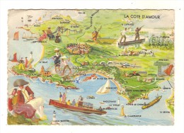44 LE CROISIC - La Cote D´Amour Aquarelle De E GUILLAUME / CPSM GF Voyagée 1952 / 1 Croix Pouliguen B.E. (carte Rare) - Le Croisic