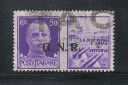 W876 - R.S.I. , Propaganda Di Guerra  : Il 50 Cent Soprastampato GNR Usato - 4. 1944-45 Repubblica Sociale
