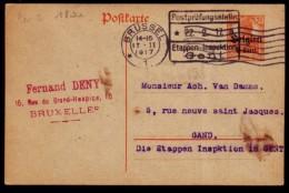 Germania Postkarte - Aufdruck; Belgien - Von Gent Nach Brussel - Postprüfungstelle Gent - German Occupation