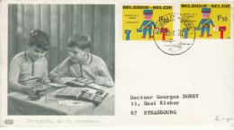BELGIUM USED COVER 25/10/19702 COB 1528 BRUXELLES VERS STRASBOURG PHILATELIE DE LA JEUNESSE - Lettres & Documents