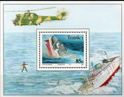 Schiff-Wrack 1991 Südafrika Transkei Block 12 ** 7€ Schiffs-Untergang M/s Bloc Helicopter Ship Sheet Bf South Africa RSA - Marítimo