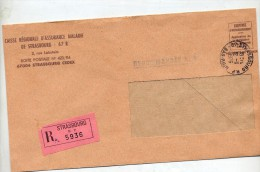 Lettre Recommandee Dispensee Cachet Strasbourgau Dos Lutte Contre Alcool - Postmark Collection (Covers)