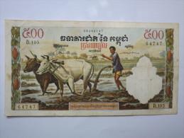 BILLET CAMBODGE - P.14 (VOIR SIGNATURES) - ROYAUME - 1970 - 50 RIELS - BOEUF - LABOUR - TEMPLE - Cambodia