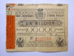 LOTERIE - EMPIRE FRANCAIS - ENFANT PAUVRE - VILLE ANDELYS / CHÂTEAUROUX - 25 CENTIMES - Lottery Tickets